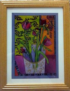 """Petals filling with Spring"" - painting behind glass with acrylic paint (reverse glass painting) -mixed media."