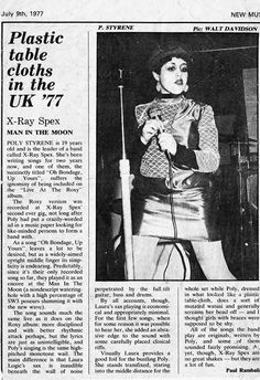 X-Ray Spex in the New Musical Express, 9th July 1977.