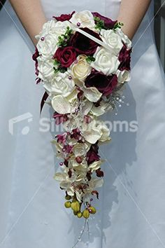 Stunning Burgundy and Ivory Bridal Bouquet with Orchids & Roses Silk Blooms Ltd http://www.amazon.com/dp/B00P6982VO/ref=cm_sw_r_pi_dp_eO00wb1J5BPCE