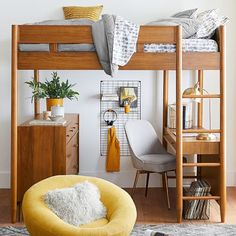 west elm x pbt Mid-Century Loft Bed, Full, Pebble - white - Furniture - Loft + Bunk Beds - Pottery Barn Teen Plush Mattresses Furniture, Room, Low Loft Beds, Loft Bed, Home Decor, Bedroom Furniture, Bedroom Decor, Interior Design, Cushy Loveseat