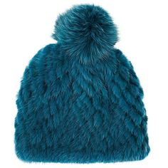 Barneys New York Women's Pom-Pom-Embellished Knitted-Fur Hat (1 185 PLN) ❤ liked on Polyvore featuring accessories, hats, blue, blue crown, blue pom pom hat, fur hat, pompom hat and pom pom hat