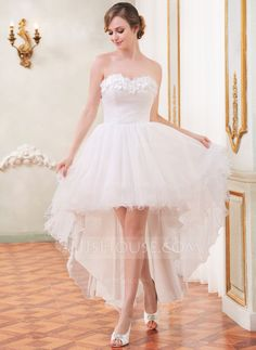 A-Line/Princess Sweetheart Asymmetrical Tulle Wedding Dress With Ruffle Beading Flower(s) (002055208) - JJsHouse