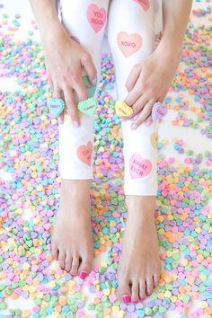 DIY Conversation Heart Leggings | Studio DIY®