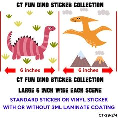 2x Dinosaurs Stickers Glossy Or Vinyl Stickers With Or Without Etsy Dinosaur Stickers Vinyl Sticker Sticker Collection