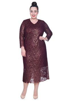 Długa ciemnoczerwona sukienka z koronki - Modne Duże Rozmiary
