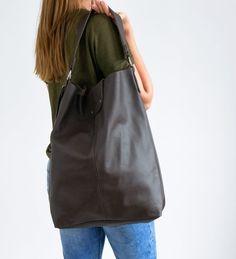 54067835a219c Oversize Shopper Bag, Large Shopper, Leather Tote Bag, Large Tote, Shopper  Bag, XXL Handbag, Dark Brown Shopper Leather Bag Leather Handbag