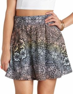 rainbow tribal print skater skirt
