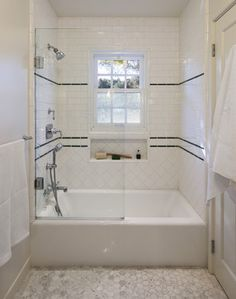 Classic 1930's tile work for shower traditional-bathroom