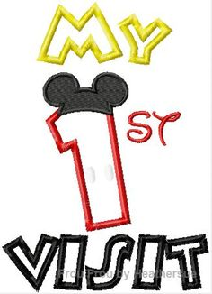 My first visit with Mouse ears Machine Applique Embroidery Design, Multiple Sizes, including 4 inch
