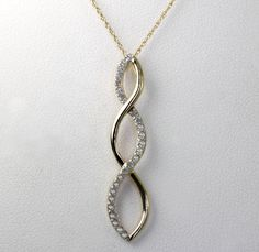 "Diamond Accent 10k Yellow Gold Triple Infinity Pendant 18.5"" Rope Chain Necklace #Infinity"