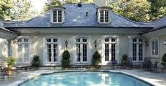 Stucco French Pavilion style. French country pool pavilion, light ...