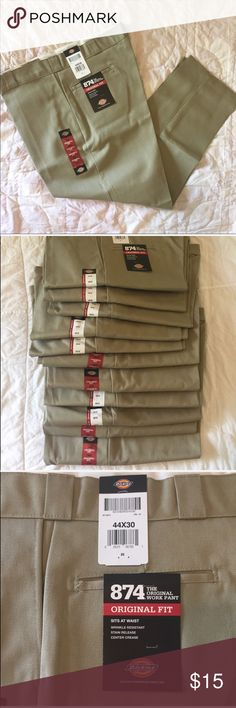 NWT Dickies Original Fit Khaki Work Pants Men's work pants- wrinkle resistant, stain release and center crease.  All in size 44/30. I have 11 pair NWT plus one pair NWOT. My husband changed positions and now has to wear different clothing.  Smoke free home. Dickies Pants Chinos & Khakis