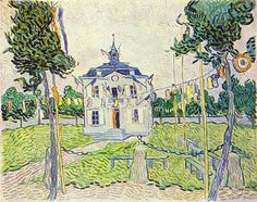 """Vincent van Gogh, """"Town Hall at Auvers on the 14th of July 1890, oil on canvas, 72 x 93 cm.  Collection Mr. und Mrs. Leigh B. Block, Chicago, USA ."""