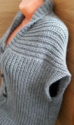 Shrug Knitting Pattern, Knit Vest Pattern, Knitting Charts, Sweater Knitting Patterns, Crochet Blanket Patterns, Knit Patterns, Baby Knitting, Crochet Blouse, Knit Crochet