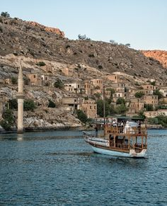 """The interesting """"Sunken Mosque"""" in Halfeti Turkey. Sunk after the construction of the dam upstream in the Euphrates River."""