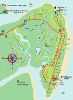 Map of Tybee Island - Tybee Island Online Vacation Places, Vacation Spots, Places To Travel, Places To Go, Vacations, Vacation Ideas, Vacation Destinations, Tybee Island Georgia, Savannah Georgia