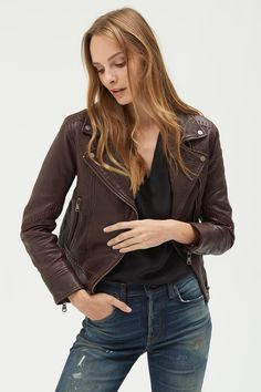 The Jones in Black Cherry Cherry, Leather Jacket, Jackets, Black, Fashion, Studded Leather Jacket, Down Jackets, Leather Jackets, Moda