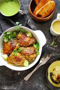 Indian-Style Roast Chicken With Green Chutney Sauce