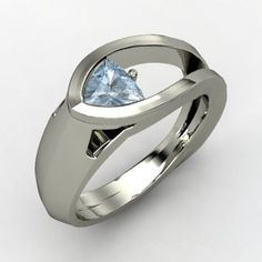 Trillion Aquamarine Sterling Silver Ring by Judy Evans : Jewelry Fashion