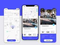 Parking Finder /// Day 06 designed by Raluca Ionescu. Connect with them on Dribbble; Location Based Service, Mobile Ui, Interactive Design, One Design, Maps, Ideas, Interaction Design, Map, Thoughts
