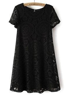 Schwarzes lockeres Kurzarm Hohle-Kleid aus Spitze 16.91