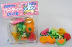 Fruit Eraser Set, 7 Piece in Square Case. BCM 38411 by PencilThings. $6.50. Plastic square case with color trim.. 7 pcs fruit eraser box set.. Fruit Eraser Box 7 Pieces Japanese Home & Garden Erasers These mini erasers are a perfect collectible, and party favors for offices and schools, and accessory pieces for doll houses. They are fun mini puzzles, as well, since each different colored piece (itself an eraser) detaches.   BUT, these erasers are not just for f...