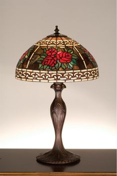 Meyda Tiffany 37789 Stained Glass / Tiffany Table Lamp from the Roses & Scrolls Tiffany Glass Lamps Table Lamps Accent Lamps