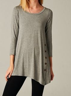 Side Button Asymmetrical Tunic