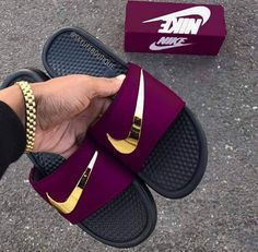 Burgundy and gold nike slides. Jordan Shoes Girls, Girls Shoes, Shoes Women, Nike Trends, Latest Nike Shoes, Nike Slippers, Nike Air Shoes, Nike Sandals For Men, Running Shoes Nike