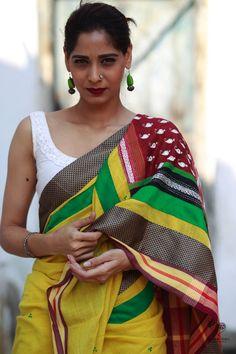 Yellow Bengal Cotton and Kantha Kaleidoscope Saree