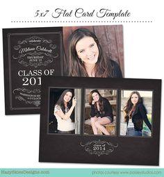 Senior Graduation Announcement Card Template by hazyskiesdesigns, $7.50