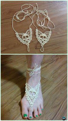 Crochet Skull Barefoot Sandals Free Pattern - Crochet Women Barefoot Sandal Anklets Free Patterns