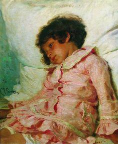 'Portret van Nadya Repina, de dochter van de kunstenaar', 1881 / Ilja Repin (1844-1930) / A.N. Radishchev Museum voor Schone Kunsten, Saratov, Rusland.