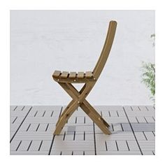 IKEA - ASKHOLMEN, Chair, outdoor, Perfect for your balcony or other small spaces as the chair is easy to fold up.For added durability, and so you can enjoy the natural expression of the wood, the furniture has been pre-treated with a layer of semi-transparent wood stain.