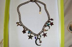 Kirks Folly Sun Moon and Stars Necklace Antique Bronzetone Colored Crystals | eBay