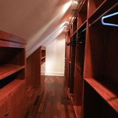 Sloped Ceiling Narrow Walk in Closet