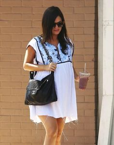 Pin for Later: The 38 Most Memorable Maternity Looks of 2014 Rachel Bilson's Casual Shopping Look Rachel Bilson wore a loose white dress for a lunch date with her family in September. The casual dress looked unbelievably comfortable and chic. Maternity Stores, Maternity Wear, Maternity Fashion, Celebrity Maternity, Rachel Bilson, Pregnancy Looks, Pregnancy Outfits, Pregnant Celebrities, Bump Style