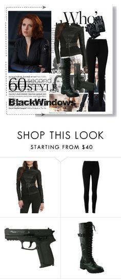 Black Windows by hacii on Polyvore featuring moda, Max Studio, Balmain, Halloween, black, beoriginal, 60secondstyle and superherocostume