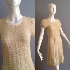 Vintage 70s Boho Hippie Sheer Hippie Crochet Dress ~ Open Knit Floral Cutout Festival Maxi ~ Wool Sweater Dress