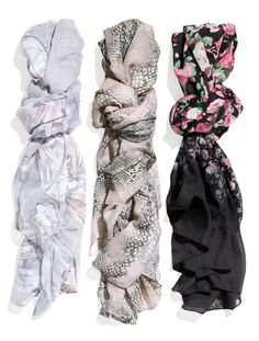 Update your look with a patterned scarf. H&M - I like all 3, but especially the middle one!