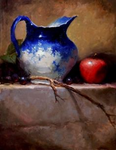 Flo Blue with Twig by Kathy Tate Oil ~ 16 x 12