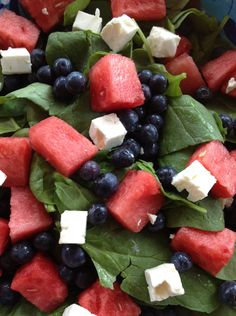 Wine Pairing Challenge:  Spinach Salad with Watermelon, Blueberries & Feta