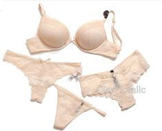 f18fdcb8ab0ef 4 Victoria s Secret Bombshell crochet lace Push Up Bra Set nude champagne  panty