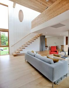 Living Room3 A Sense of Volume And Love For Wood: Modern House in Portland