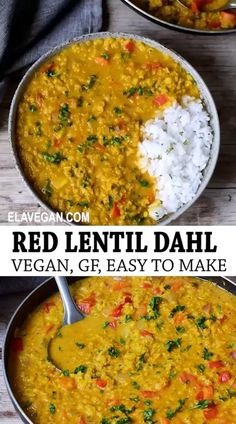 Red Lentil Dahl (Dal) recipe which is flavorful and delicious. The Masoor dal curry is vegan, gluten-free, healthy, easy to make, quick, and a great dinner. Vegan Dinner Recipes, Veggie Recipes, Indian Food Recipes, Whole Food Recipes, Vegetarian Recipes, Cooking Recipes, Healthy Recipes, Healthy Indian Food, Healthy Lentil Recipes
