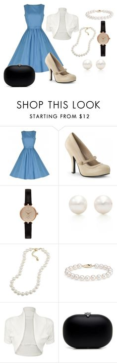 """""""Strolling in the 50s"""" by natalievintage ❤ liked on Polyvore featuring Pinup Couture, Barbour, Tiffany & Co., Carolee, Blue Nile, WearAll, women's clothing, women's fashion, women and female"""