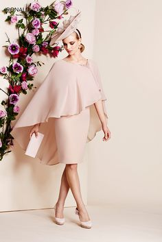 Ronald Joyce 991012 Chiffon Cape Dress in Shrimp Pink Mother Of The Groom Gowns, Mother Of The Bride Plus Size, Mother Of Bride Outfits, Mother Bride, Elegant Dresses, Beautiful Dresses, Casual Dresses, Summer Dresses, Trendy Outfits
