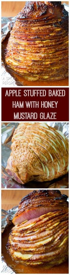 Easy (and Gorgeous) Baked Ham with Honey Mustard and Apples will be the perfect centerpiece of your holiday meal. This apple stuffed Baked Ham Recipe is not Honey Recipes, Ham Recipes, Great Recipes, Dinner Recipes, Cooking Recipes, Favorite Recipes, Recipies, Holiday Ham, Holiday Recipes