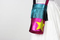 Metallic Crossbody Bag/Mini Bucket Bag Metallic Fuchsia and
