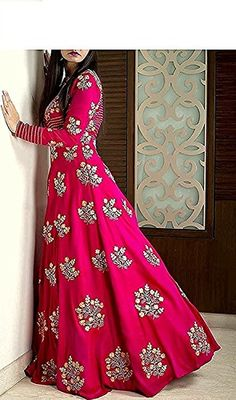 New Designer Pink Color Party Wear Anarkali Gown. Indian Wedding Gowns, Indian Gowns, Indian Attire, Indian Wear, Indian Outfits, Indian Long Dress, Ethnic Wedding, Silk Anarkali Suits, Anarkali Dress